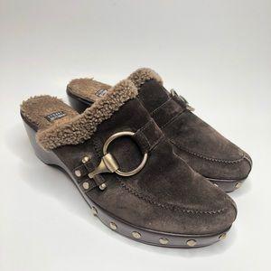 Stuart Weitzman brown slip on mules size 10